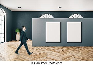 contemporaneo, galleria, camminare, uomo affari