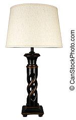 contemporaneo, sculpted, legno, accento, lampada tavola