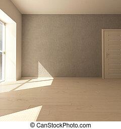 contemporaneo, stanza, vuoto, 3d