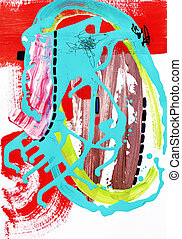 contemporary art abstract painting, acrylic on paper
