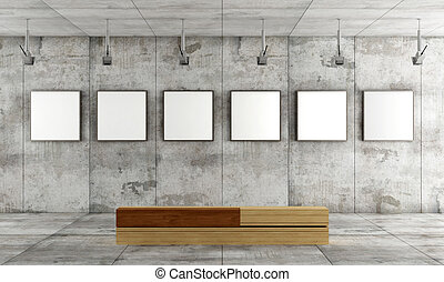 Contemporary art gallery - Grunge art gallery with canvas on...