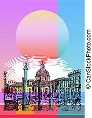 contemporary art poster design of Rome Italy