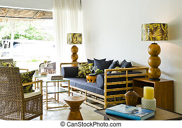 Contemporary bamboo sofa seating area beautiful interior...