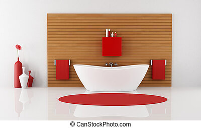 contemporary bathroom with bathtub against wooden panel -...