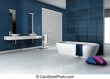 Contemporary Bathroom - Home interior of a modern tiled ...