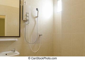 Contemporary Bathroom Shower with Dual Shower Heads