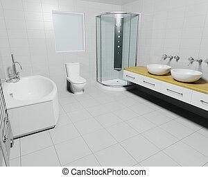 Contemporary bathroom - 3D render of a contemporary bathroom