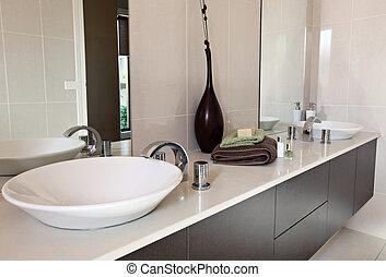 Contemporary Bathroom - Modern bathroom, with double round...