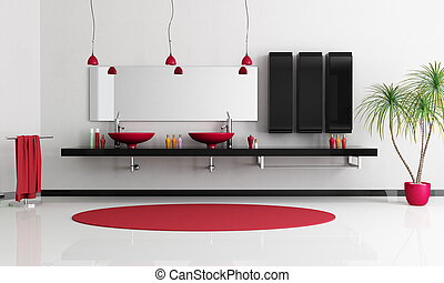 contemporary bathroom - two modern red sink in a minimalist...