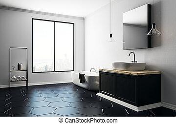 Contemporary bathroom with copy space side
