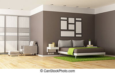 Contemporary Bedroom - Brown and green contemporary bedroom...