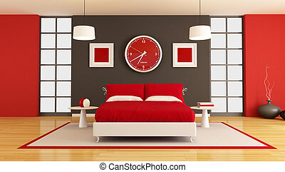 contemporary bedroom - contemporary red and black bedroom -...