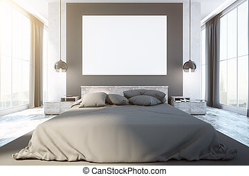 Contemporary bedroom interior with furniture, blank...