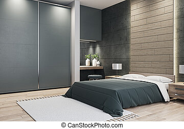 Contemporary bedroom with bed.