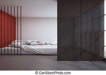Contemporary bedroom with copyspace