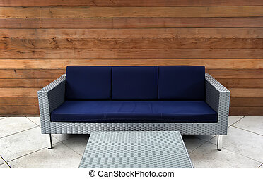 Contemporary Blue and Silver Outdoor Couch - Image on a...