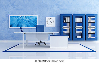 contemporary blue office with white desk - rendering - the art picture on wall is a my composition
