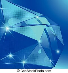Contemporary bright background with dot textured dimensional distorted object.