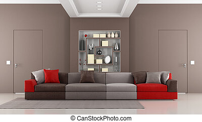 Contemporary brown livingroom - Brown livingroom with two...