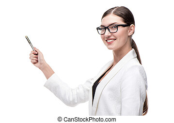 Contemporary business woman smiling and pointing at something