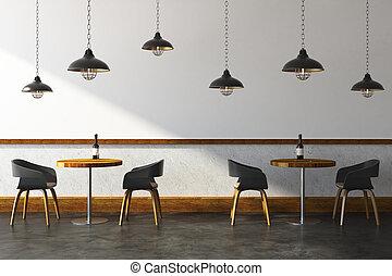 Contemporary cafe interior