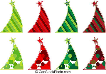 Contemporary Christmas tree collection featuring slanted abstract trees decorated with stripes or dots
