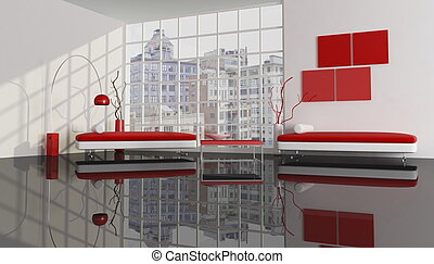 red white and black city apartment -rendering -the image on background is a my photo
