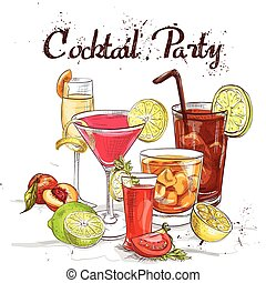 Contemporary Classics Cocktail Set cocktail party, excellent vector illustration, EPS 10