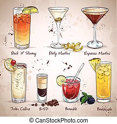 Contemporary Classics Cocktail Set, excellent vector illustration, EPS 10