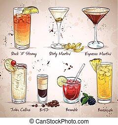 Contemporary Classics Cocktail Set, excellent vector...