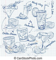 Contemporary Classics Cocktail Set on a notebook page,...