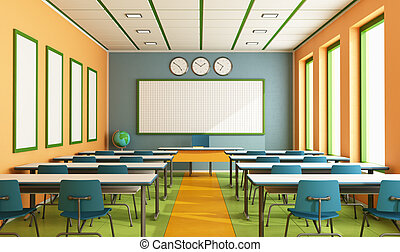 Contemporary classroom with colorful wall and floor without...