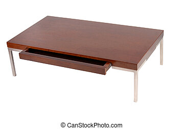 Contemporary coffee table with an open drawer