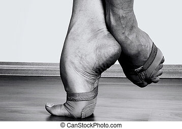 Contemporary Dancer Feet - Close up to Contemporary dancer...
