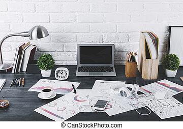 Contemporary designer desktop closeup