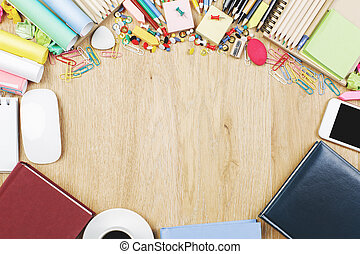 Contemporary desk top with supplies