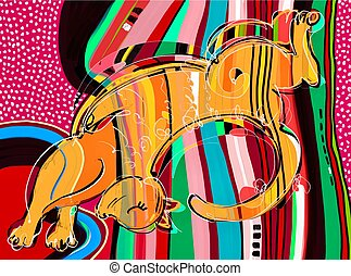 contemporary digital art orange cat stretched on a striped...