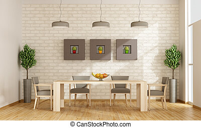 Contemporary dining room with wooden table and chairs -...