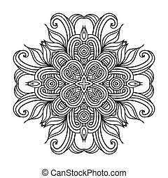 Contemporary doily round lace floral pattern card, circle, ...