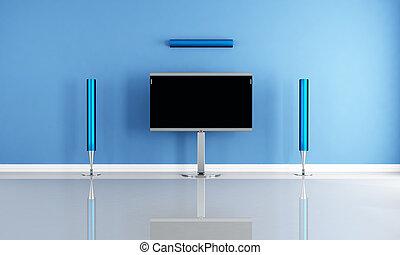 contemporary empty cinema room - minimalist blue home...