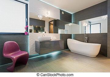 Horizontal view of contemporary exclusive bathroom interior