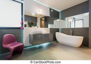 Contemporary exclusive bathroom interior - Horizontal view...