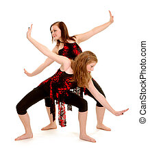 Two Female Teenage Contemporary Dancers in Recital Costume Duet