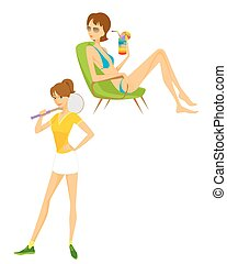 Contemporary girl on white - Vector illustration of a...
