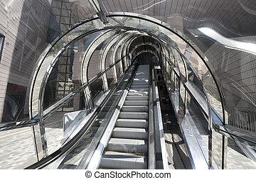 Contemporary glass escalator in museum of Art, Hong Kong
