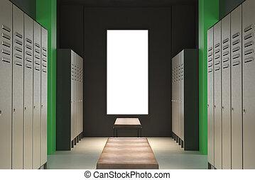 Contemporary green locker room