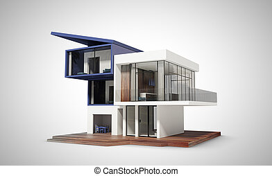 contemporary house  on a white background