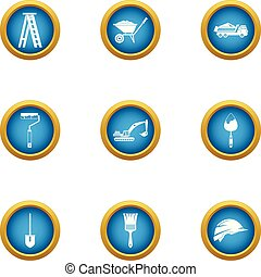 Contemporary house icons set, flat style