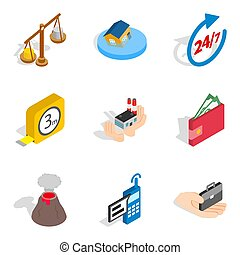 Contemporary house icons set, isometric style