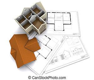 Contemporary house on floorplans